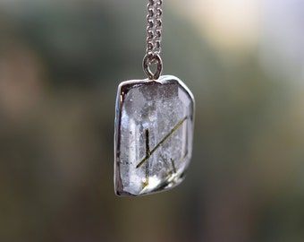 Tourmaline in Quartz Necklace. Faceted Quartz. Green Tourmaline Quartz Pendant. Sterling Silver One of a Kind Gemstone Necklace Gift for Her
