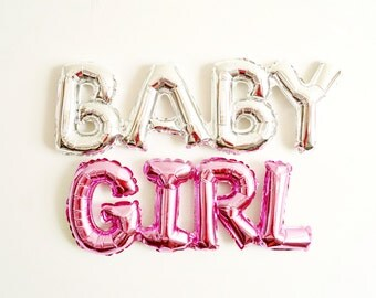 BABY GIRL balloon pink mylar - baby shower birth announcement gender reveal - Air Fill Only