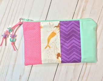 Pretty Pastel Mermaids Zipper Pouch. Pink, Purple and Mint. Mendocino Mermaid by Heather Ross. Kawaii. Suede Zipper Pull. Acrylic Beads.