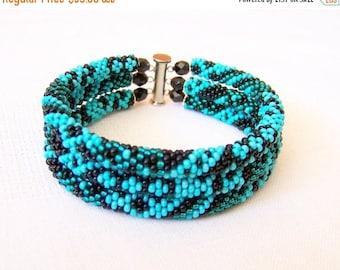 15% SALE Beadwork - 3 Strand Bead Crochet Rope Bracelet in turquoise, teal and emerald - beaded jewelry - beaded bracelet