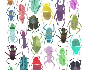 A4 colourful 'The Beetles' print