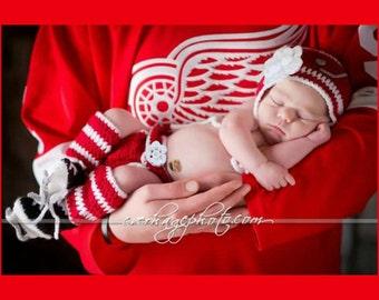 BABY GIRL HOCKEY Red White Hockey, Baby Hockey Crochet, Hockey Baby Knit Hat, Baby Hockey Knit Skates, Newborn hockey Girl, Hockey Girl Gift