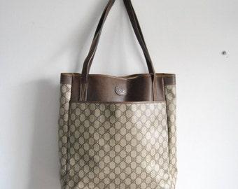 Large Vintage Gucci Web Boston Shopper Tote Shoulder Bag in Brown Monogram