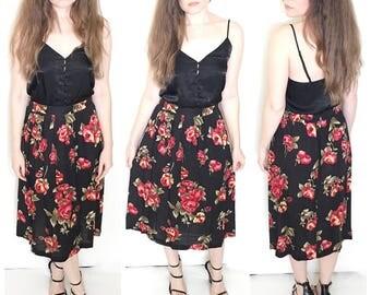 Vintage black floral rose maxi skirt button high waist maxi skirt size 8