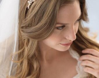 Delicate Gold Wedding Headband, Gold Bridal Headband, Crystal Wedding Headband, Rhinestone Headband, Gold Bridal Headpiece ~TI-3159-G