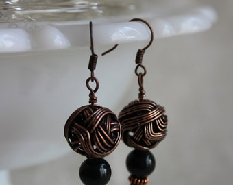 Copper earrings with green natural stone