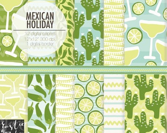 MEXICAN HOLIDAY digital paper. Margarita, lime, cactus, jalapeno pepper digital paper in green, blue mint.