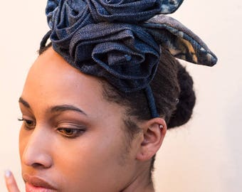 The Frida, Multi Flower Denim Fascinator-headband-gifts for mom-gifts for her-derby wear