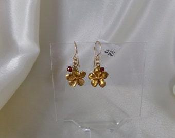 Plumeria flower vermeil with garnet gold filled wire earring gemstone handmade MLMR item 780