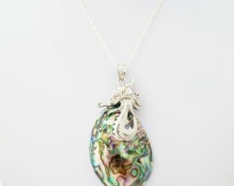 Large Statement Oval Scallop Paua Abalone, Oval Pendant, Natural Oval Shell, Iridescent Scallop Shell pendant,  Statement shell necklace