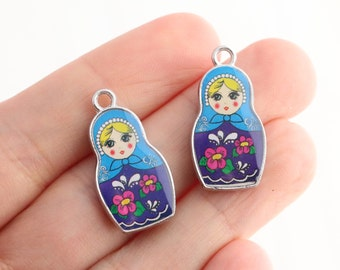 Russian Doll Charm Pendants - Enamel - Blue/Purple - Matryoshka Babushka - Double sided.