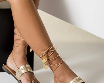 "Gold Leather Sandals, Greek Ankle Wrap Flat Sandals, Wedding flats, Bridal Sandals ""Penelope"" NEW SS17 - Free standard shipping"