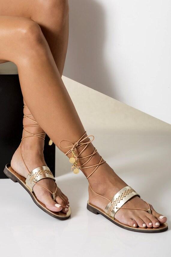 Gold Leather Sandals Greek Ankle Wrap Flat Sandals Wedding