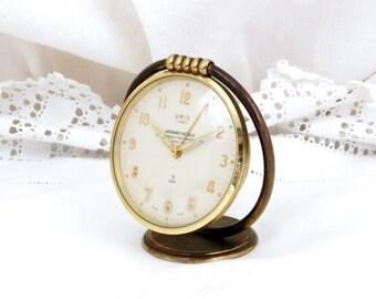 Working Vintage Mid Century Pivoting Swiss Made 8 Day Mechanical Wind Up Oris 7 Jewels Alarm Clock, Retro, Home, Timepiece, Switzerland