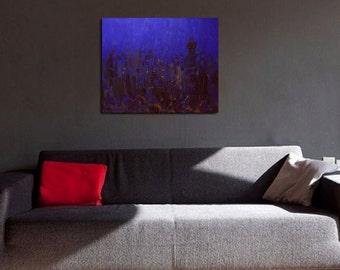 Acrylic painting original, Abstract art painting, Cobalt blue painting, Contemporary art painting night city by Yuri Pysar