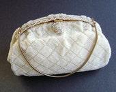 Lucille de Paris, RARE Collectible, Beaded Bridal Bag, Vintage Beaded Purse, White Purse, Beaded Evening Bag, Micro Bead, Bridal Handbag