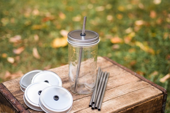 Set of 6 Stainless Steel Straws & 6 WIDE MOUTH Mason Jar 1 Piece Lids Tumbler DIY Weddings, Parties, Everyday Use