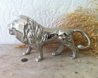 Lion Statue, Silvery Sculpture, male Lion, King of Beasts, Handsome Silver Tone Lion, Tarnish Resistant, Home Decor, Free Shipping
