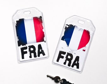 French Flag Luggage Tag, Paris, France Travel Gifts Under 5 or 10, Newlywed Gifts