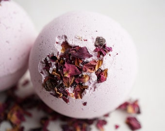 Red Berry Rhubarb Fizzing Bath Bomb - Ripe Red Berries and Tart Rhubarb Scented 4.5 oz Bath Bomb with Kaolin Clay and Epsom Salts