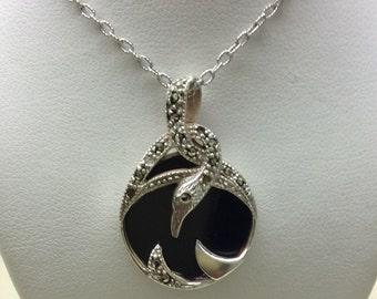 Sterling Silver Onyx Snake Necklace