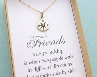 Best Friend Necklace, Compass Necklace, Best Friend Gift, Friendship Necklace, BFF Gift, Sister Gift, Sisters Necklace, Personalized Gift