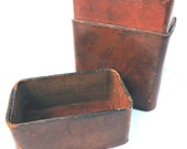 Leather Playing Card Case Vintage Double Card Deck Holder Leather Card Box