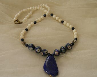 Lapis pendant w Chinese vintage Cloisonne & mother of pearl beads necklace , beaded necklace , Thai hill tribe silver , lapis lazuli jewelry