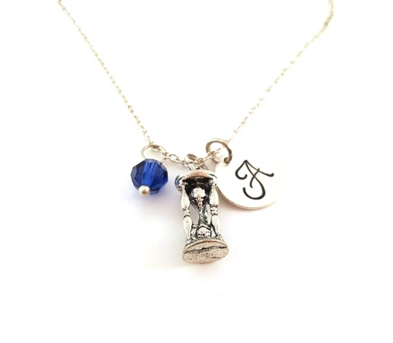 Sand Timer Necklace -  Game Charm - Swarovski Crystal Birthstone Necklace - Personalized Initial Sterling Silver Jewelry - Gift for Her