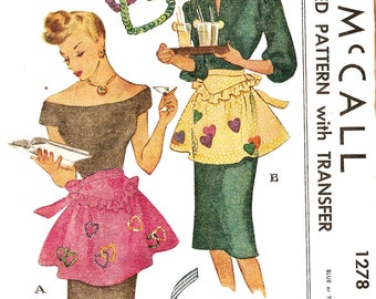 McCall 1278 Misses' Vintage 1940s Apron with Heart Applique or Sequin Trim Sewing Pattern