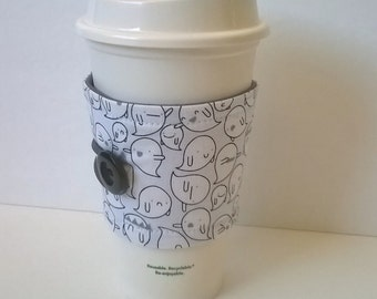 Boo Parade Reusable Coffee Sleeve, Lizzy House Fabrics