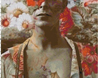 David Bowie Flower Collage Handmade PDF Cross-Stitch Pattern