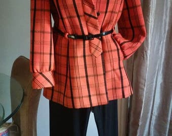 Vintage/Lillie Rubin/Jacket Blazer/Orange/Black/Plaid/Suit/Pants/Top