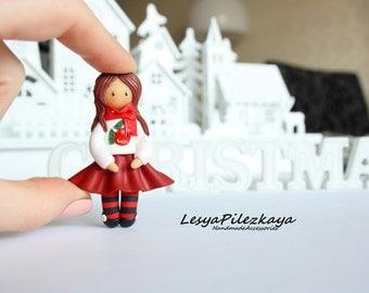 Polymer clay brooch little christmas girl