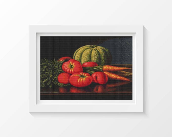 Cross Stitch Pattern PDF, Embroidery Chart, Still Life with Cantaloupe, Tomatoes, and Carrots by Levi Wells Prentice (PRENT02)
