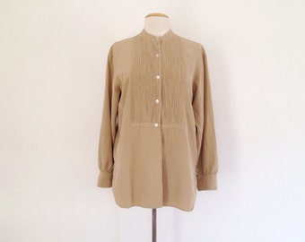 khaki shirt womens / silk button up shirt / vintage silk shirt mandarin collar tuxedo style blouse long sleeve