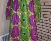 African Clothing: N Y O T A African  Print Dress (Pre-Made)