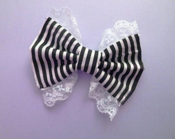 Striped Black and White White Lace Hair Bow -Gothic Lolita- Lolita Bow- Lace Bow-Goth - Victorian- Steampunk