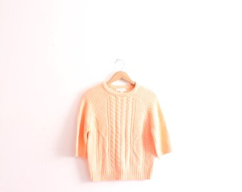 Light Peach 80s Cable Knit Sweater