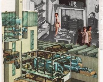 ANSICHTKAART van oorspronkelijke collage-kunst-knippen en plakken. Fabriek, KIKKERS retro stijl absurd WEIRDNESS. Originele briefpapier. Hipster industriële