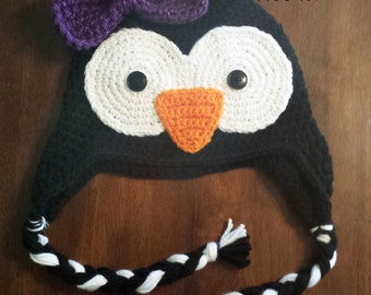Custom Crochet Penguin Earflap Hat