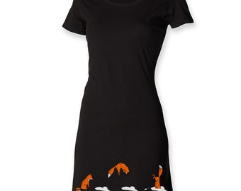 Fox t shirt dress, jumping fox, hand painted dress, women casual dress, little black dress, long black shirt