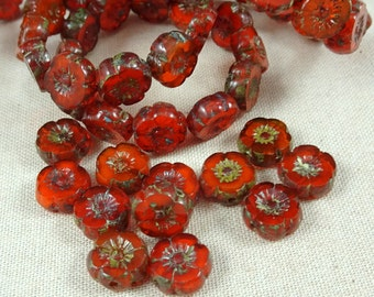 Czech Glass Beads, Hibiscus Flower - Burnt Orange Opaline  (FL9/RJ-0749) - 9mm - Qty. 8