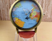 Leather Wrist Watch, World Map Watch, Woman Leather Watch, World Map Travel Gift Ideas,Birthday Gifts, Woman Gift, Teen Gift, Christmas Gift