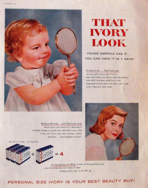 1955 IVORY SOAP ADVERTISEMENT / Beauty Bathroom Decor Mild Soap Vintage Advertising Women Children Face Soap