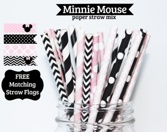 Minnie Mouse Light Pink Paper Straw Mix  PAPER STRAWS birthday party wedding bridal shower cake pop sticks decorations Free straw flags