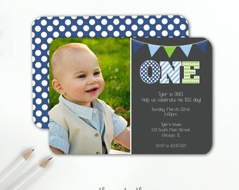 First Birthday Boy Invitation Blue and Green ONE, Photo Invitation, 1st Birthday Invitation, Polka Dots, Stripes, Printable File or Printed