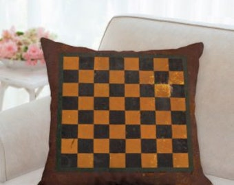 Rustic Checker Board Designer Pillow