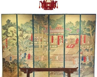 Vintage Chinoiserie Folding Screen Privacy Room Divider Chinese Hand Painted Antique Pagoda Temple Folding Screen 6 Panel 7 Ft Tall RIGHT