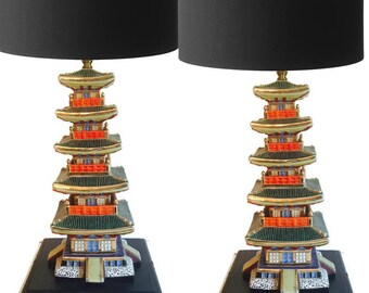 Mid Century Modern Chinoiserie Lamps Stacked Pagoda Hollywood Regency Glam Console Lamps Tony Duquette Style Ceramic Table Lamp PAIR